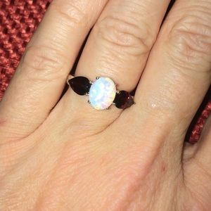 Garnet and Lab-Created Opal Ring Size 7